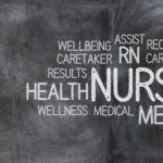 a hired nurse teaching how to become a school nurse in front of a chalkbord